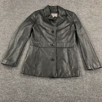 Wilson's Leather Women's Small Lined Black Button Up Leather Coat Jacket Genuine