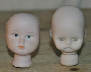 Lot of Two Vintage Porcelain Doll Heads. View Photo's For Wear