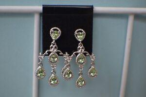 2.05ct Tsavorite Garnet / White Topaz Earrings Platinum Plated  ~ Chandeliers
