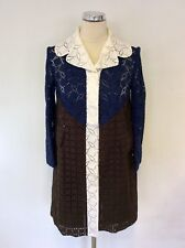 LOUIS VUITTON 2013 WHITE,BLUE & BROWN BROIDERY ANGLAISE LONG JACKET SIZE 36 UK 8
