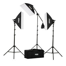 "Fovitec 3x 20""x28"" Softbox Lighting Kit w/ Boom Arm, 2500W Total Output"