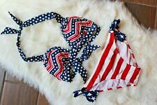 Catalina American Flag Patriotic,Red,White,Blue Bikini Two Piece Set Size Medium