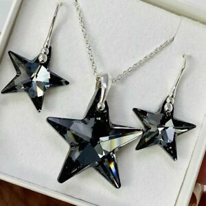Silver Large 28mm SN Star Necklace And Earring Set Made With Swarovski® Crystal