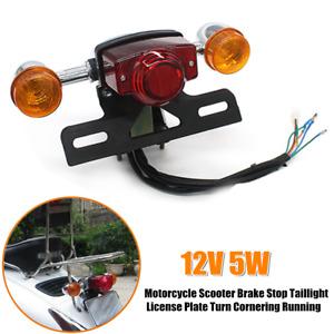 Universal Motorcycle License Plate Light Brake Tail Lamp Turn Cornering Running