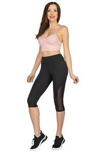 Damen Hoher Bund Capri Leggings Laufen Yoga SPORTS Training 3/4 Hose HL59