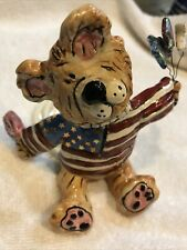 Heather Goldmine 2003 Blue Sky Clayworks 4th Of July Teddy Bear Candle Holder