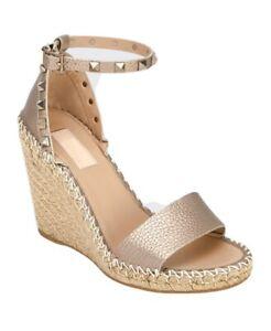 Valentino Rockstud Champagne Strap Espadrille Platform Wedge Sandal Heel 36