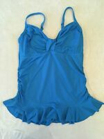 Lands End 12 Tankini Swimsuit Top Blue Ruffled Underwire Ruched Side