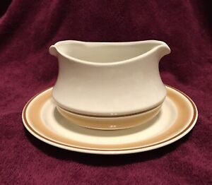 Vintage Hearthside Stoneware WaterColors Gravy/Sauce boat with drip plate.