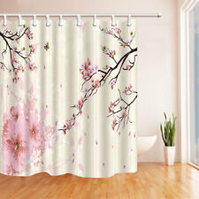 Japan Pink Cherry blossom Shower Curtain Polyester Bathroom & 12hooks 71*71inch