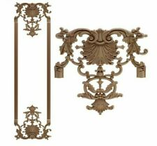 Retro Rose Floral Wood Carved Decal Corner Applique Decorate Frame Wall Door 1Pc
