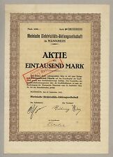 Rheinische Elektrizitäts-AG – MANNHEIM – Aktie, 1.000 Mark, 27.09.1922