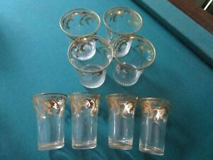 BOHEMIAN CZECH CRYSTAL HAND PAINTED GOLD LEAVES 4 WATER / 4 SHOT GLASSES PICK 1