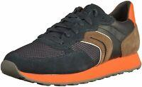 Geox Respira VINCIT B Herren Schuhe Sneaker Halbschuhe U845VC Navy / Chocolate