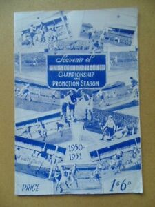 PRESTON NORTH END , SOUVENIR OF CHAMPIONSHIP AND PROMOTION 1950/51