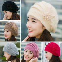 Womens Flower Knit Crochet Beanie Hat Winter Warm Cap Beret Slouch Baggy Ski Cap