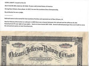 Stk RR Orleans & Jefferson Ry 1897 New Orleans, LA Railroad Line  #5