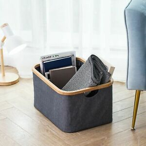Grey Fabric Canvas Storage Baskets Boxes Hampers Bamboo Rim Box Collapsible