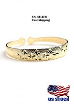USA Women Ladies Fashion Jewelry Design Gold Tone Bangle Open End Cuff Bracelet