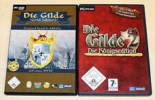 2 PC SPIELE SAMMLUNG - DIE GILDE 1 & 2 - GOLD KÖNIGS EDITION - AUFBAU STRATEGIE