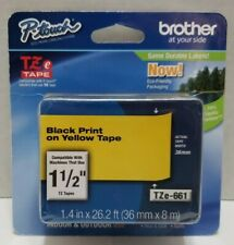 New listing Brother Tze-661 1 1/2 inch Black Print on Yellow Tape Tze Tape