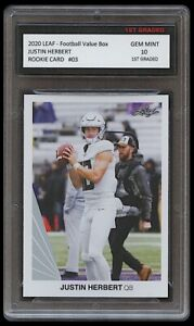 JUSTIN HERBERT 2020 LEAF FOOTBALL VALUE BOX 1ST GRADED 10 ROOKIE CARD CHARGERS