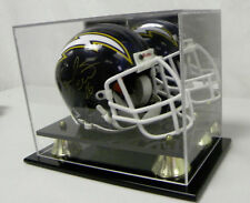 Mini Helmet Display Case Acrylic with Black Acrylic Base and Gold Risers &Mirror