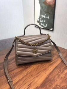 Tory Burch Kira Chevron Quilted Top Handle Taupe Shoulder Bag Authentic NWT