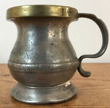 Antique 1880s Victorian Pewter Brass Pub Measuring Cup Engraved Blackfriars UK