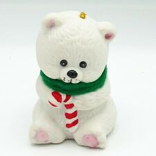 Jasco Lil' Chimers Polar Bear with Candy Cane Porcelain Bell