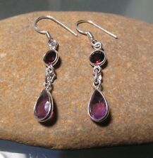Sterling silver everyday style cut amethyst & garnet earrings. Gift bag