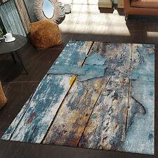 Moderner Teppich Wohnzimmer Kunstvoll Holzplatten Design Meliert Gelb Blau Weiss