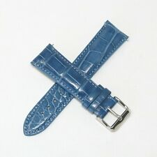 21MM Genuine Alligator Leather Skin Watch Band BLUE w/ Steel Buckle Made in USA