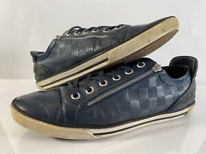 LOUIS VUITTON Leather Damier Aventure Zip-up Shoes US 11 Navy Blue
