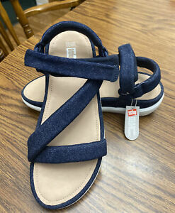 NEW FitFlop Z-Strap Women's Sandals Size 9 Blue Denim Strappy Wedge Outdoor NWT