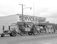 "1941 Combine at a Gas Station, Washington Vintage Old Photo 8.5"" x 11"" Reprint"