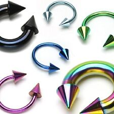 1x18g-6g Anodised Titanium Horseshoe Circular Barbell with Spikes Body Jewellery