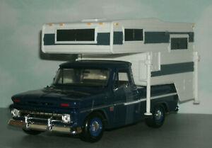 1/24 Scale 1966 Chevy C10 Fleetside Pickup Truck Model with Camper - MotorMax