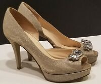 Nine West Gold Silver Sparkly Heels open toe size 6 Shimmer With Jewels