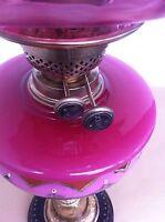 Antique Art Nouveau Column Brass & Cranberry Glass Oil Lamp UPC 5060475010077