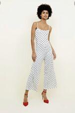 NEW LOOK INNOCENCE White Spot Print Culotte Viscose Sleeveless Jumpsuit Size UK8