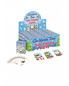 Mini Christmas Playing Cards Party Loot Bag Gift 6 x 4 cm Santa Snowman Elf