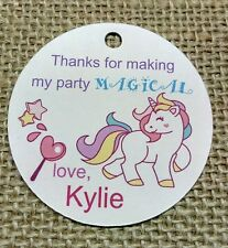 15x PERSONALISED Unicorn Birthday Tags Gift Favour Tags Labels