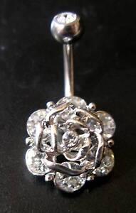 TITANIUM Bar - Crystal Flower Rose - Belly Bar - Length: 6mm 8mm 10mm 12mm 14mm