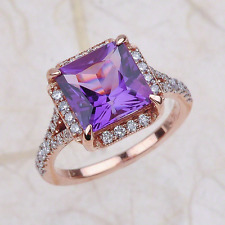 2.40ctw Cushion Cut Amethyst Halo Engagement Ring in 14K Rose Gold
