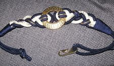 VINTAGE MOTION EAST navy white braided belt GOLD TONE buckle nautical size m