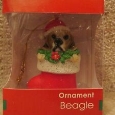 Beagle Dog in Stocking with Santa Hat Resin Ornament