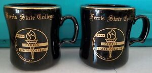 2 vintage Ferris State College Black & Gold WC Bunting coffee mugs/cups