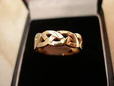 9 CARAT YELLOW GOLD HANDMADE CELTIC WEDDING RING BY B & N BRAND NEW IN BOX