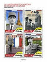 Sao Tome & Principe Military Stamps 2020 MNH Charles de Gaulle WW2 Eiffel 4v M/S